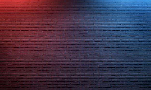 Fundo de tijolo vermelho azul iluminado Foto Premium