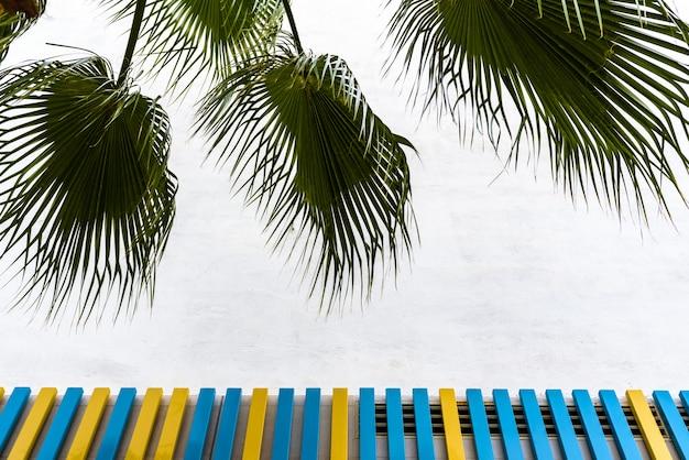 Fundo de uma parede com placas pintadas coloridas e moldado por folhas de palmeira. Foto Premium