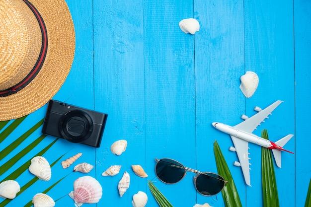 Fundo de verão plana leigos Foto Premium