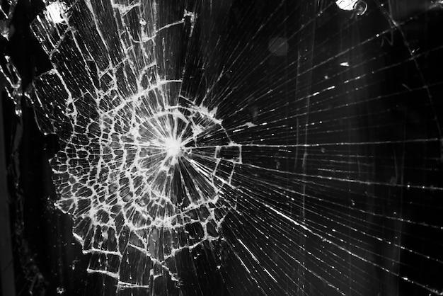 Fundo de vidro quebrado na cidade ilumina o fundo Foto Premium