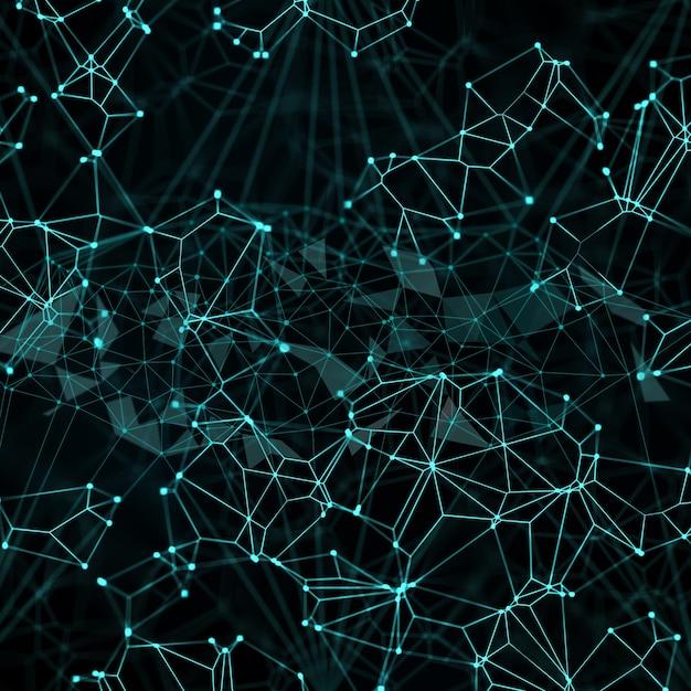 Fundo digital abstrato com pontos e linhas de conexão Foto gratuita