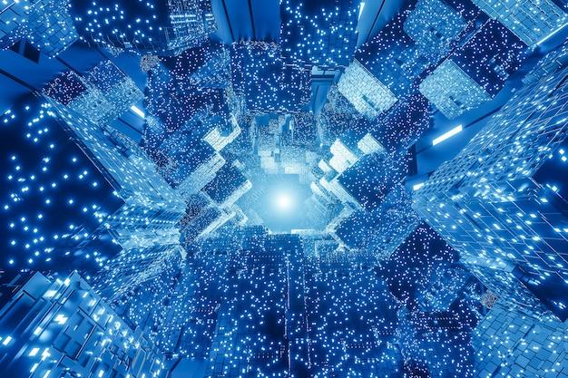 Fundo digital futurista abstrato da ficção científica. Foto Premium