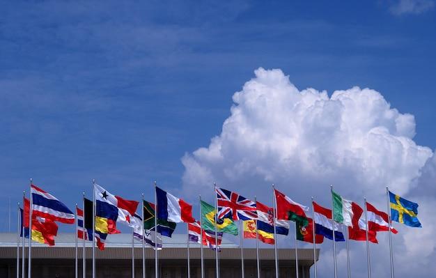 Fundo do céu azul de bandeira nacional. Foto Premium