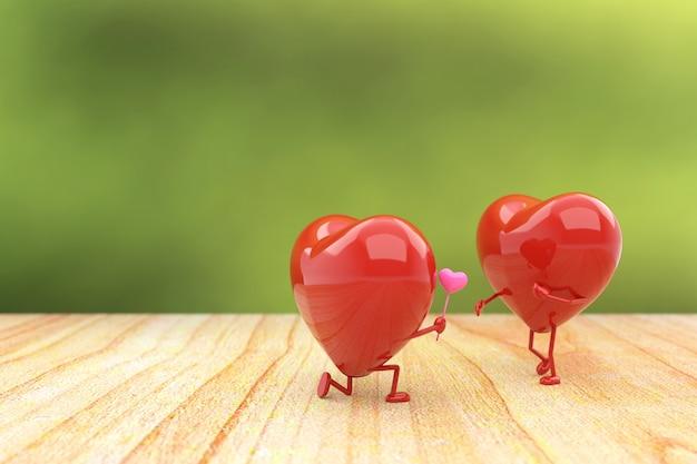 Fundo do dia de valentim com o conceito do amor, rendição 3d. Foto Premium