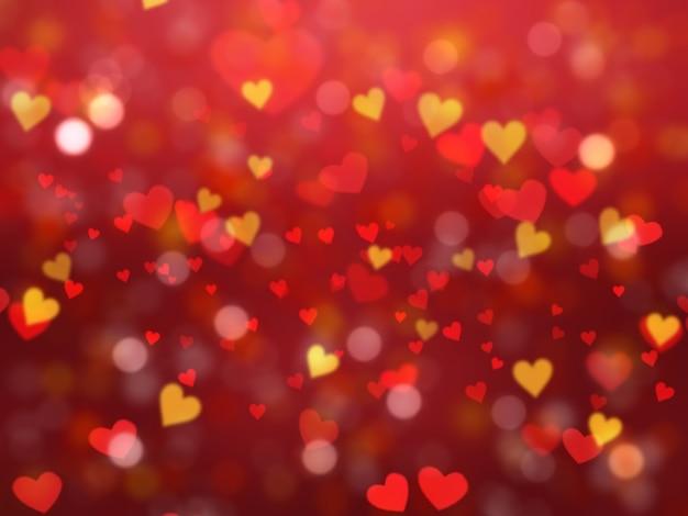 Fundo do dia dos namorados com luzes em forma de coração do bokeh Foto gratuita
