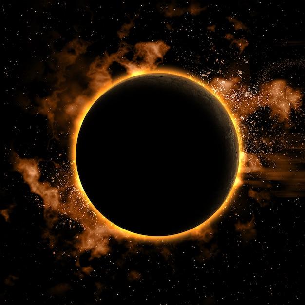 Fundo do espaço com planeta nebual e eclipsada Foto gratuita