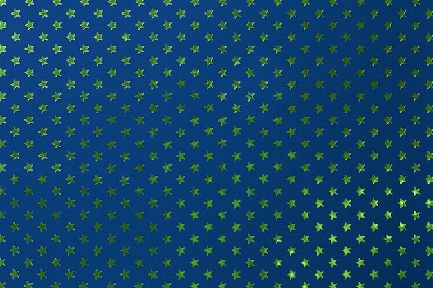 Fundo dos azuis marinhos do papel da folha de metal com estrelas verdes douradas. Foto Premium