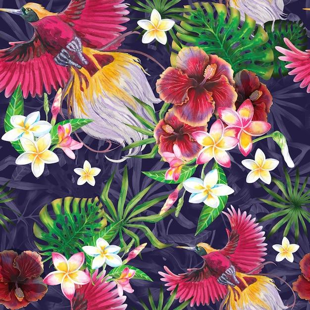 Fundo exótico do verão com pássaro do paraíso, as folhas tropicais e as flores do hibiscus. Foto Premium