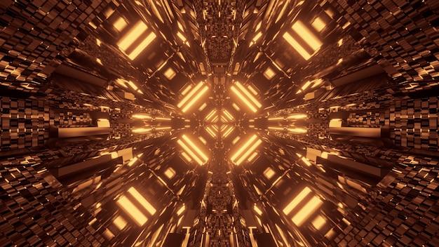 Fundo futurista de ficção científica abstrata com luzes de néon douradas Foto gratuita