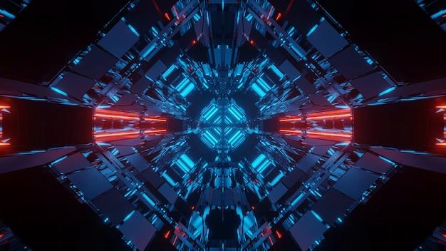 Fundo futurista de ficção científica abstrata com luzes de néon vermelhas e azuis Foto gratuita