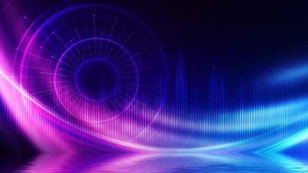 Fundo futurista escuro abstrato. feixes de luz neon, forma de laser circular são refletidos na água. plano de fundo do show de palco vazio, festa na praia. Foto Premium