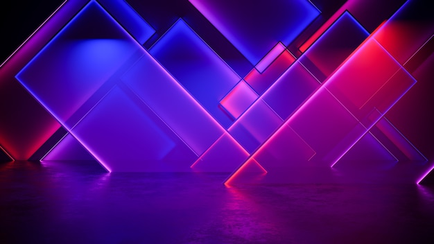 Fundo futurista moderno da luz de néon Foto Premium