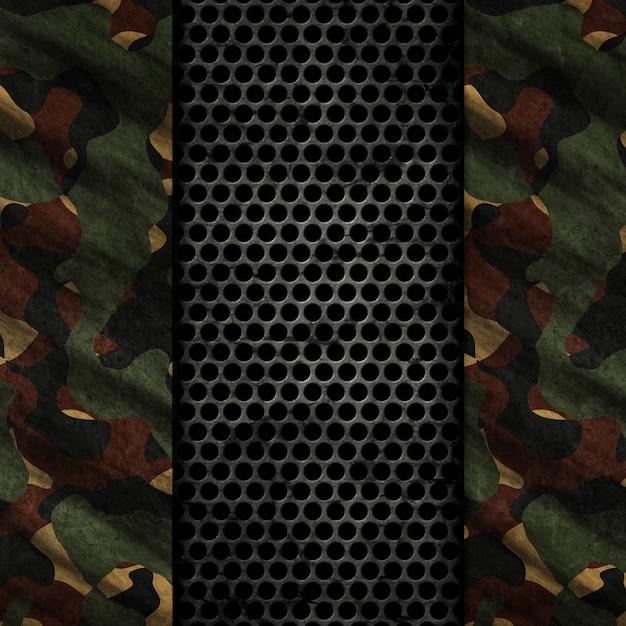 Fundo grunge 3d com texturas de metal e camuflagem Foto gratuita