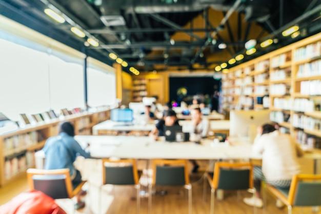 Fundo interior de biblioteca de borrão Foto gratuita