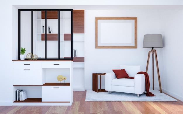 Fundo interior de luxo moderna sala de estar com simulação de quadro de cartaz vazio, renderização em 3d Foto Premium
