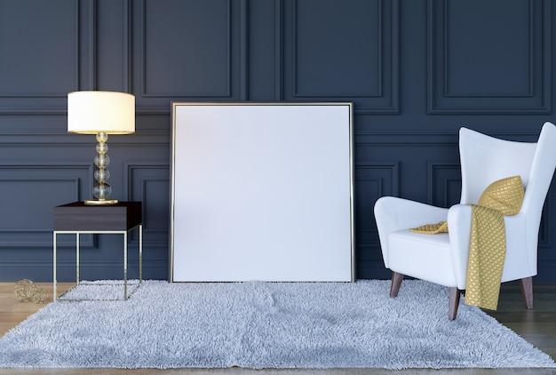 Fundo interior moderno da sala de visitas luxuosa clássica com zombaria acima do quadro do cartaz, rendição 3d Foto Premium