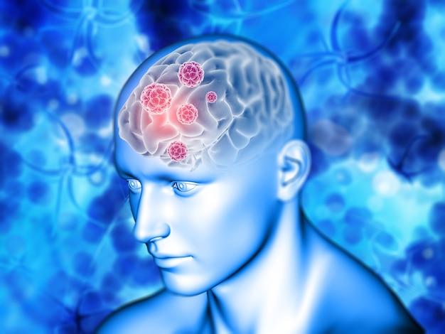 Fundo médico 3d com destaque do cérebro Foto gratuita