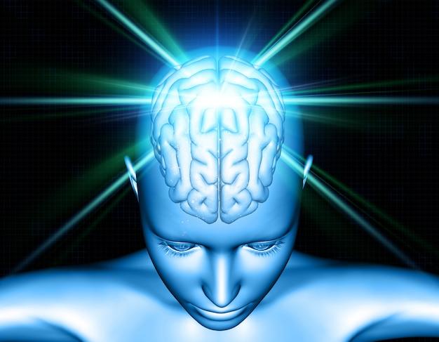 Fundo médico 3d com figura feminina com destaque do cérebro Foto Premium