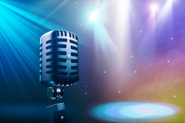 Fundo musical sem costura com ilustração 3d de microfone vintage Foto Premium
