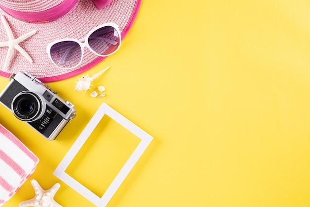 Fundo para férias de verão viagens e conceito de férias. Foto Premium