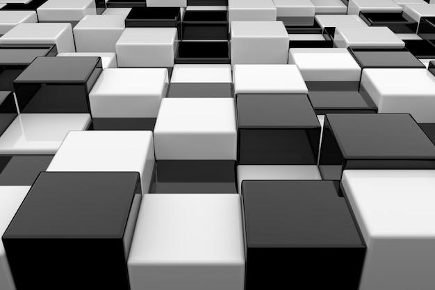Fundo preto e branco cubos Foto Premium