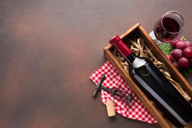 Fundo vintage com cópia espaço vinho tinto Foto gratuita