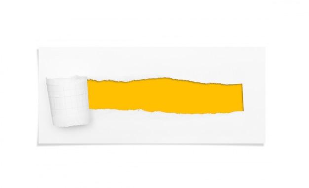 Furo rasgado e rasgado do papel com área de espaço da cópia para o texto. Foto Premium