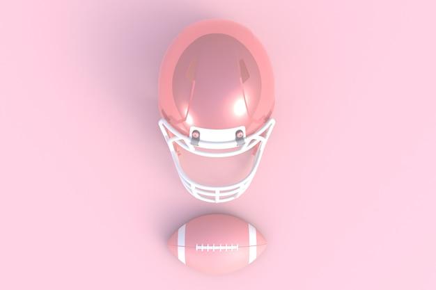 Futebol americano abstrato mínimo fundo rosa, renderização em 3d Foto Premium