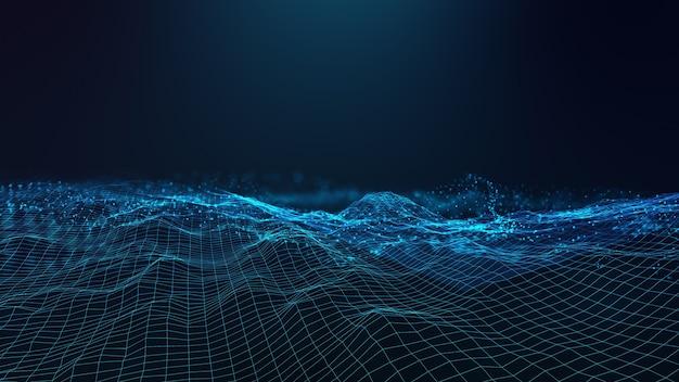 Futurista abstrato - tecnologia com formas poligonais em fundo azul escuro. conceito de design de tecnologia digital. Foto Premium