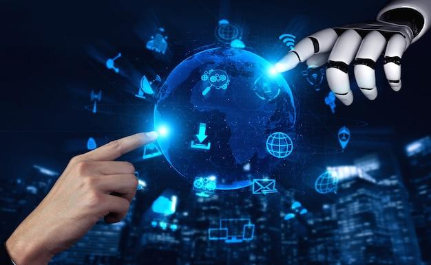 Futuro robô de inteligência artificial e cyborg. Foto Premium