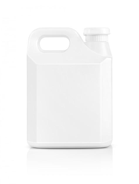 Galão de plástico branco de embalagem em branco isolado Foto Premium