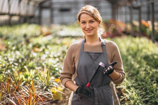 Gardiner mulher em uma estufa Foto gratuita