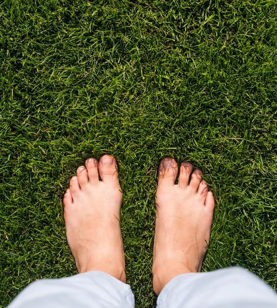 Garota de vista superior em pé na grama Foto gratuita