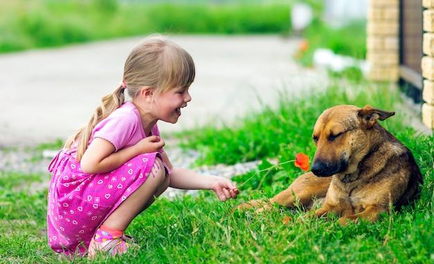 Garota feliz mostra flor para um cachorro Foto Premium