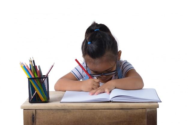 Garota garoto desenho com lápis de cor Foto Premium