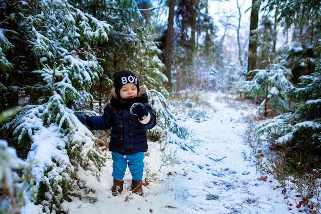Garotinho feliz imaginando os flocos de neve na floresta de inverno Foto Premium