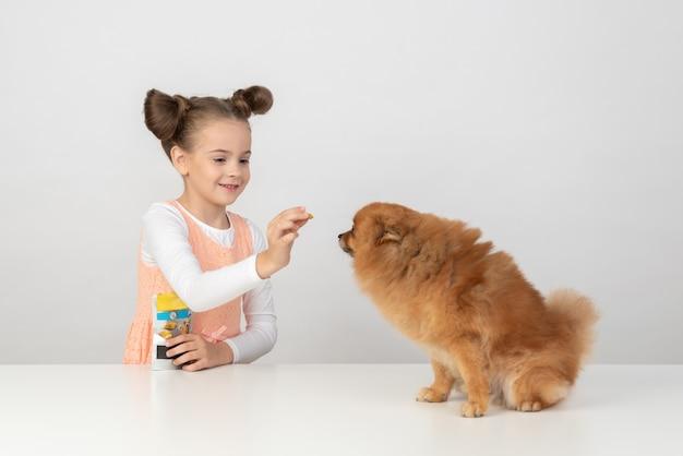 Garoto garota dando um cão deleite para um spitz Foto Premium