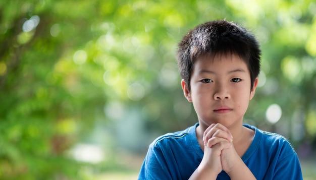 Garoto orando pela manhã, mãos cruzadas em oração Foto Premium