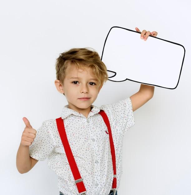 Garoto, retrato, segurando, papel, ícone Foto Premium