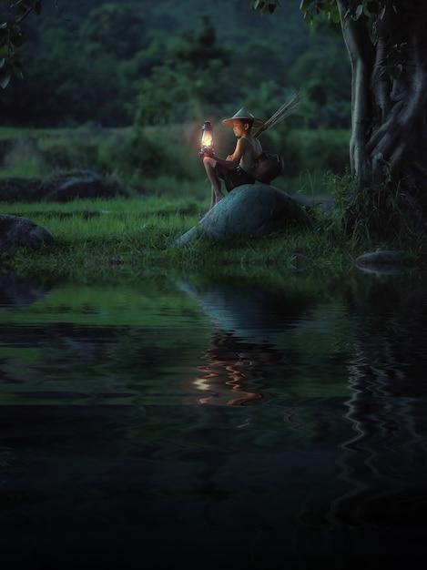 Garoto segurando a lâmpada olhando. resumo significado esperança de vida. Foto Premium