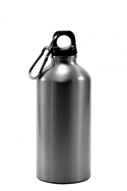 Garrafa de alumínio água isolado branco Foto Premium