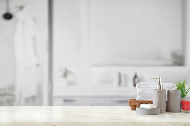 Garrafa de cerâmica cinza com toalhas de algodão branco na cesta Foto Premium