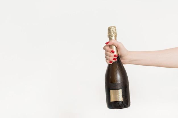 Garrafa de champanhe. postura plana. conceito de celebração de festa Foto Premium