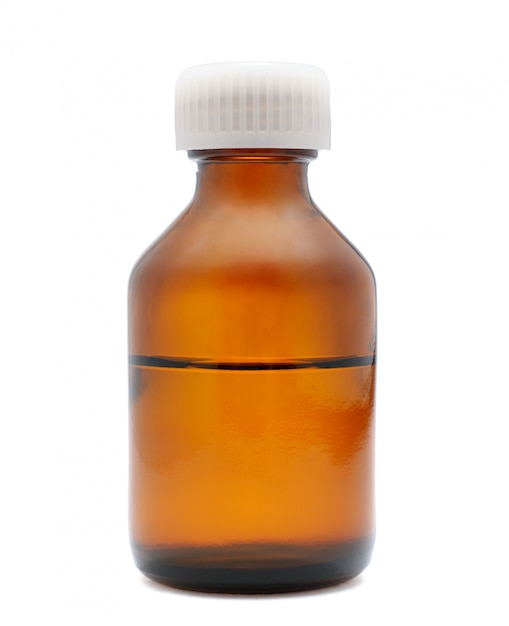Garrafa médica isolada no branco Foto Premium