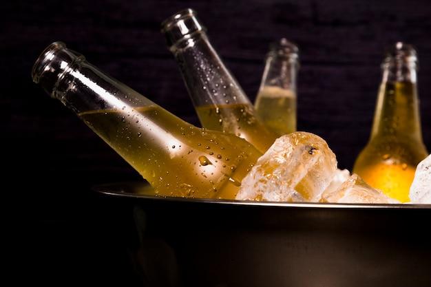 Garrafas de cerveja com gelo Foto gratuita