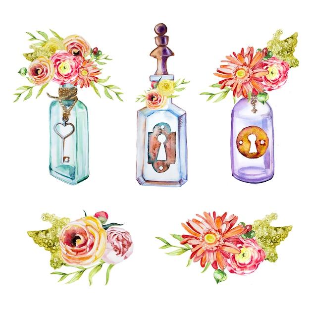 Garrafas pintadas à mão em aquarela com chaves e buquês clipart clipart conjunto isolado. elementos de design de chaves vintage. Foto Premium