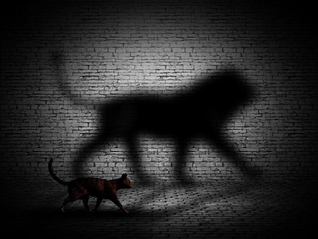 Gato 3d que anda com sombra em forma de leão contra uma parede de tijolos Foto Premium