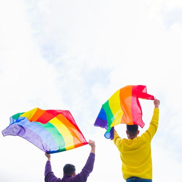 Gays segurando no alto sinalizadores de arco-íris Foto gratuita