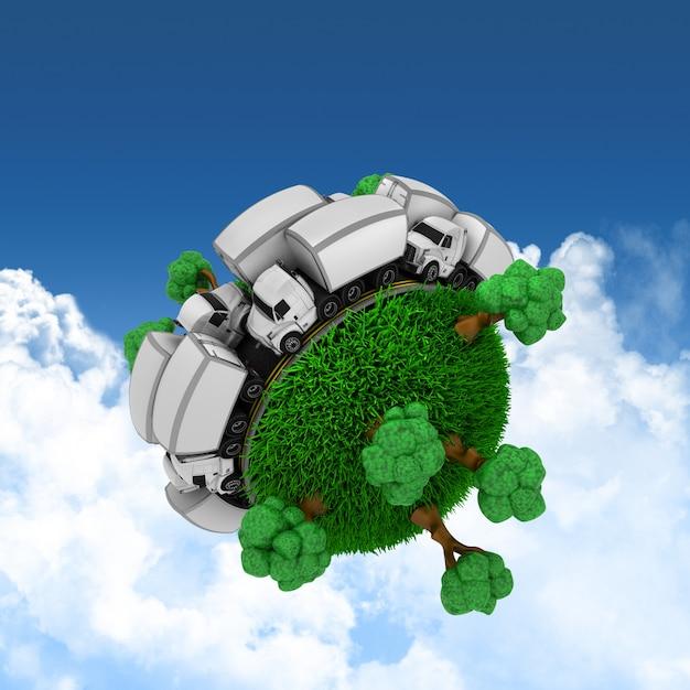 Globo 3d gramado com caminhões e árvores Foto gratuita
