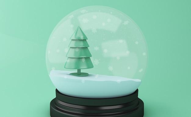 Globo da neve 3d com a árvore de natal abstrata. Foto Premium